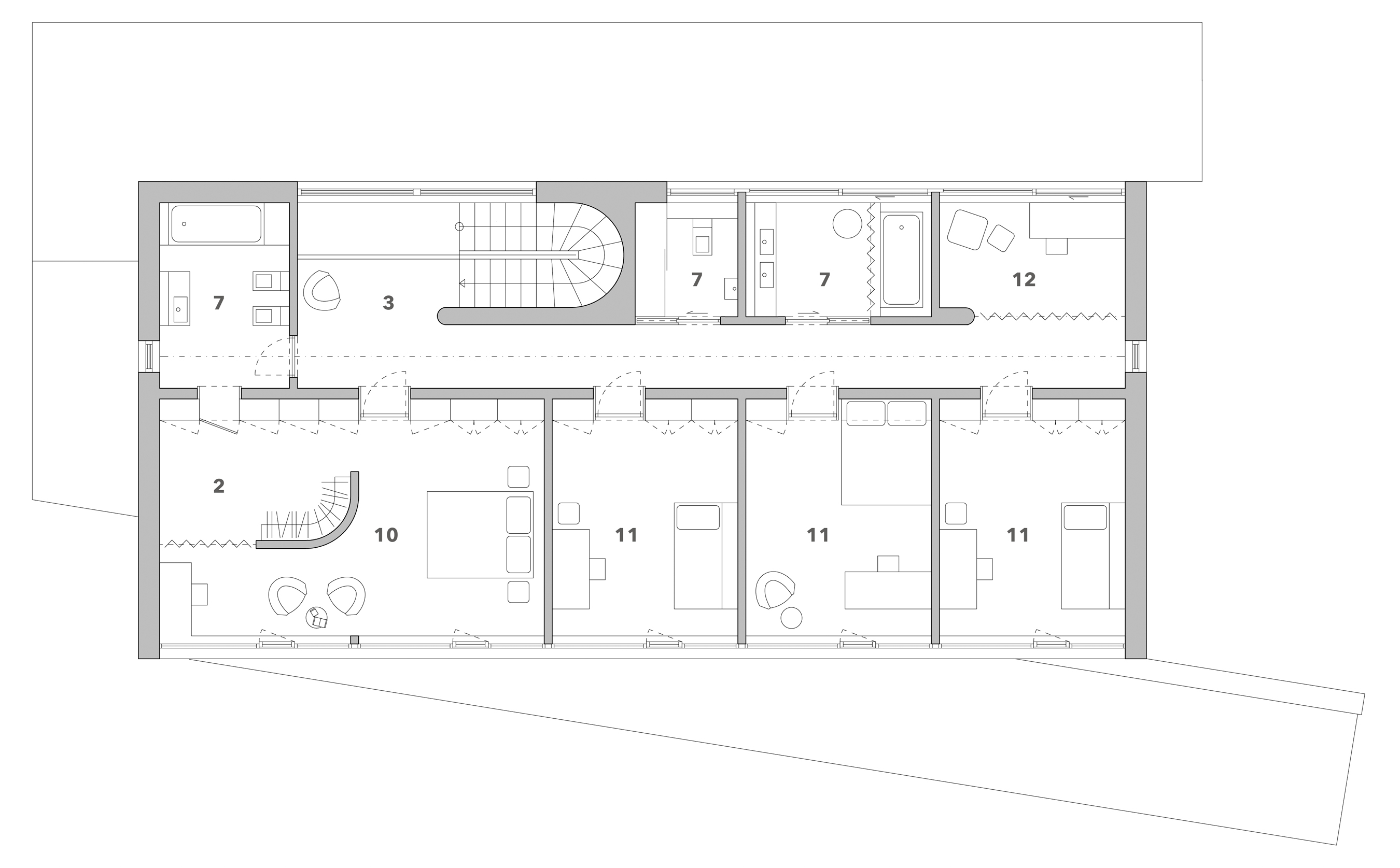 Second floor:  - 2 - Cloak room, 3 - Hallway with stairs,  7 - WC/Bathroom,  10 - master bedroom, 11 - bedroom, 12 - household workshop