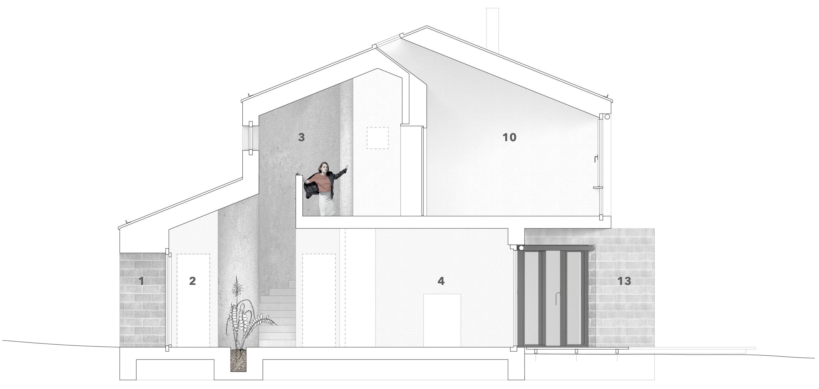 cross Section & materiality: 1 - main entrance, 2 - Cloak room, 3 - Hallway with stairs, 4 - kitchen,  10 - master bedroom, 13 - garden terrace